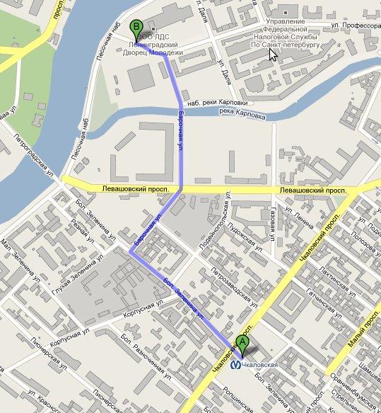 Схема пешего маршрута от ст.